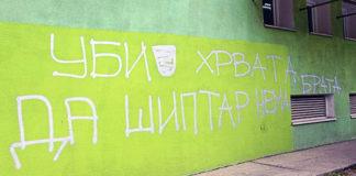 """""""Ubij Hrvata da Šiptar nema brata"""" grafit mržnje detelinara Novi Sad"""